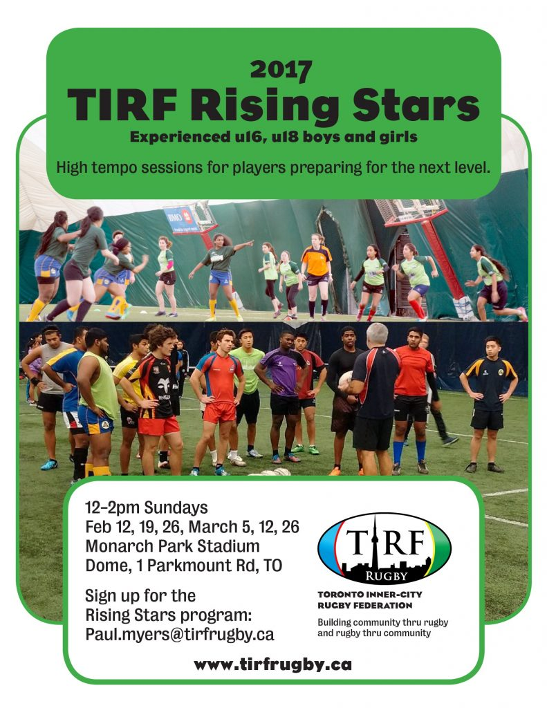 2017 TIRF Rising Stars Training Schedule