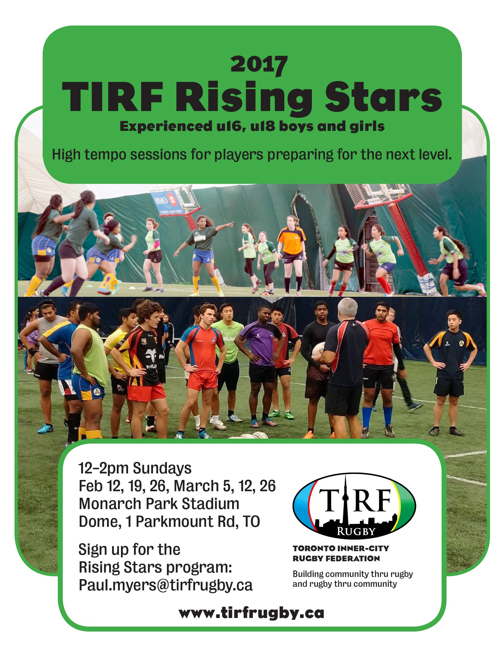 2017 TIRF Rising Stars Training Schedule